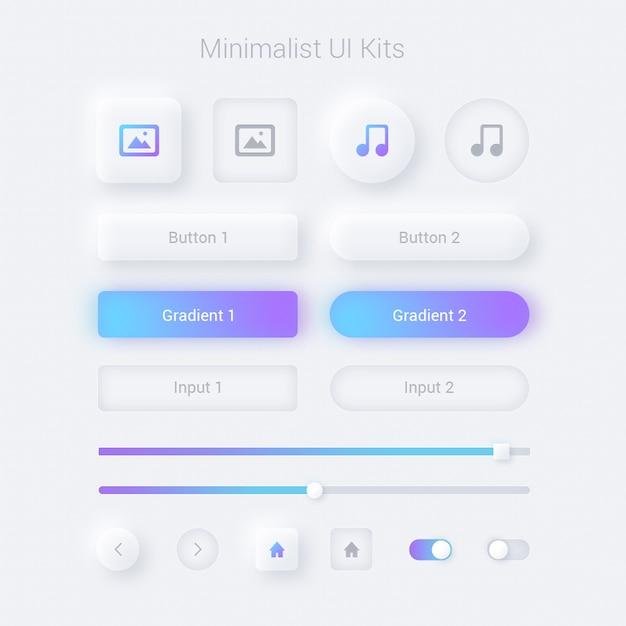 Interfaccia utente e web minimalisti visualizzati Psd Premium