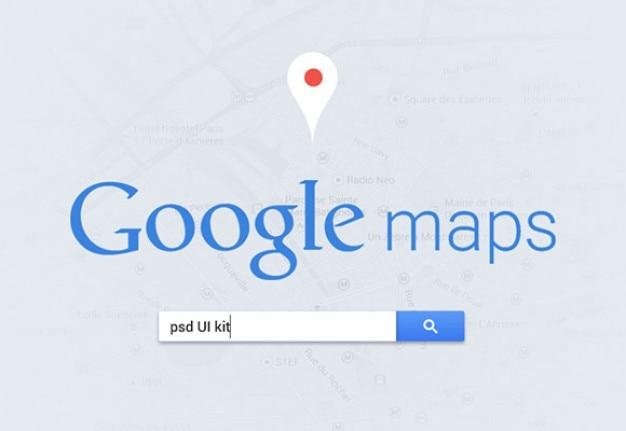 Mapa Plano Con Pin Icono De Puntero De La: Interfaz De Usuario De Google Maps