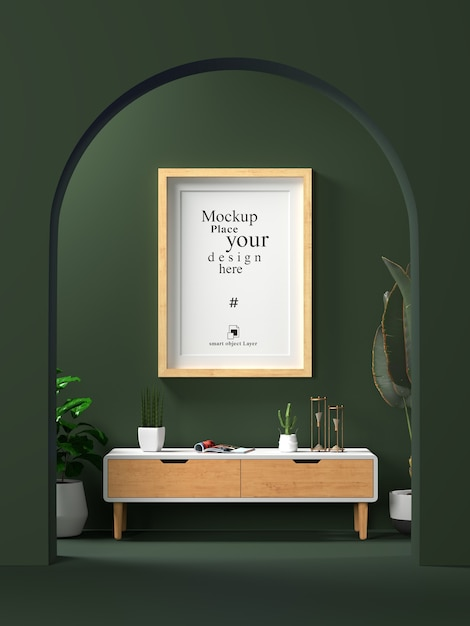 Interieur leeg fotolijstje mock up in woonkamer Premium Psd