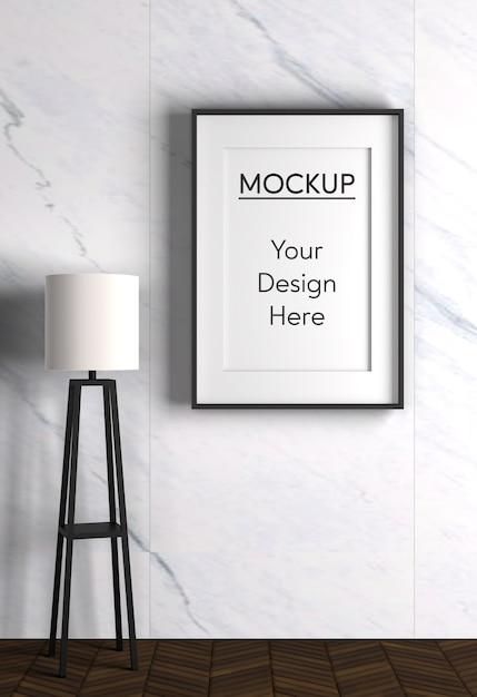 Interieur met lamp en frame Gratis Psd