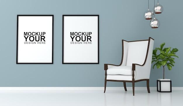 Interieur mockup met fotolijst op muur in 3d-rendering Premium Psd