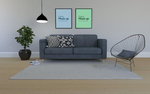 Interieur moderne woonkamer met sofa en frames mockup ...