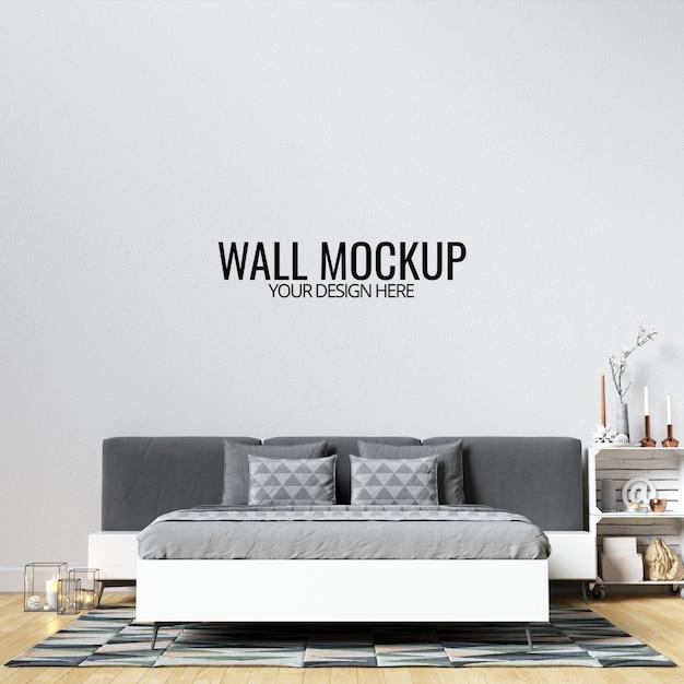 Interieur slaapkamer muur mockup Premium Psd