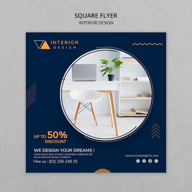 Interieur vierkante flyer met foto Gratis Psd
