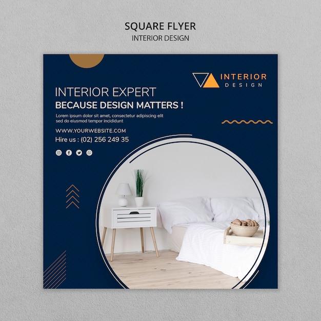 Interieurontwerp vierkante flyer Gratis Psd