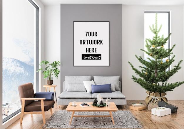 Interior navideño con maqueta de marco vertical PSD Premium