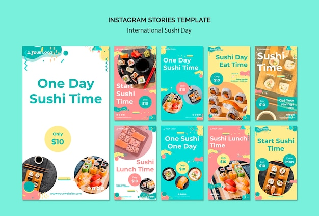 Internationale sushi-dag instagram verhalen sjabloon Gratis Psd