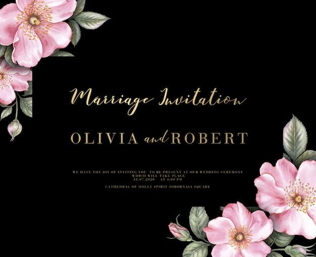 Invitación de boda con acuarela ilustración botánica. PSD Premium