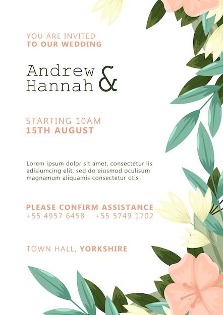 Invitación de boda blanca con flores pintadas de rosa PSD gratuito