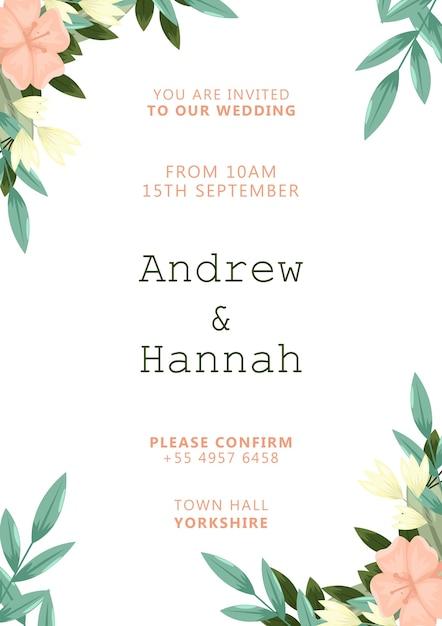 Invitación de boda elegante con flores pintadas de rosa PSD gratuito