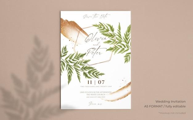 Invitación de boda elegante con hermosas hojas PSD gratuito