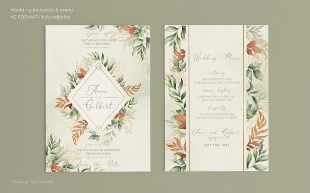 Invitación de boda elegante y plantilla de menú con hojas románticas PSD gratuito