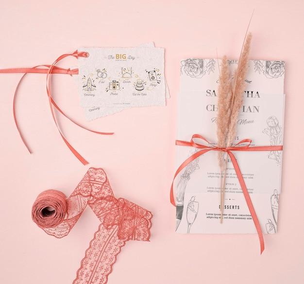 Invitación de boda con endecha plana PSD gratuito