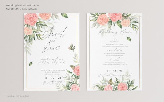 Invitación de boda floral y plantilla de menú PSD gratuito