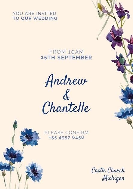 Invitación de boda con flores pintadas de azul y púrpura PSD gratuito