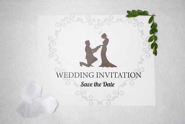 Invitación de boda con guardar la fecha PSD gratuito