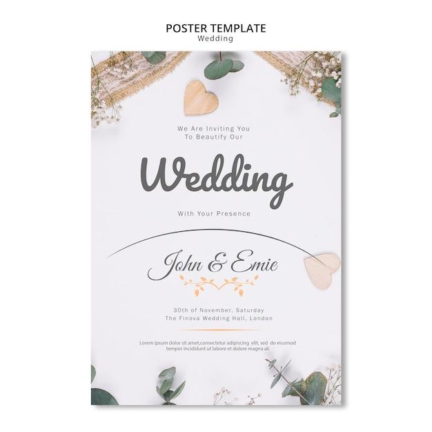 Invitación de boda hermosa con plantilla de adornos bonitos PSD gratuito