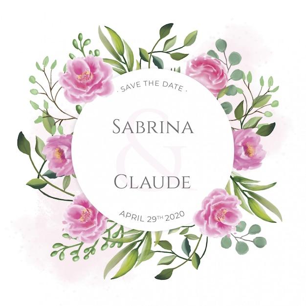 Invitación de boda con hermosas flores de acuarela PSD gratuito