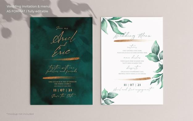 Invitación de boda y plantilla de menú con hermosas hojas PSD gratuito