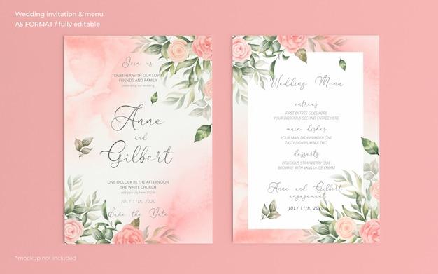 Invitación de boda romántica en acuarela y plantilla de menú PSD gratuito
