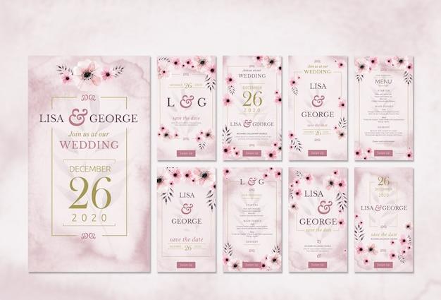 Invitación de boda romántica mínima PSD gratuito