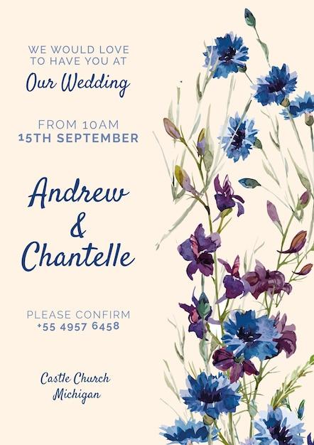 Invitación de boda rosa con flores azules y púrpuras PSD gratuito