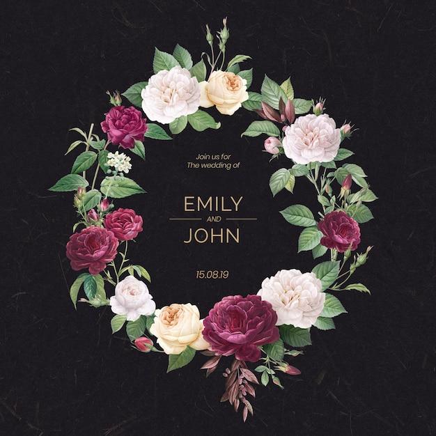 Invitación floral de la boda PSD gratuito