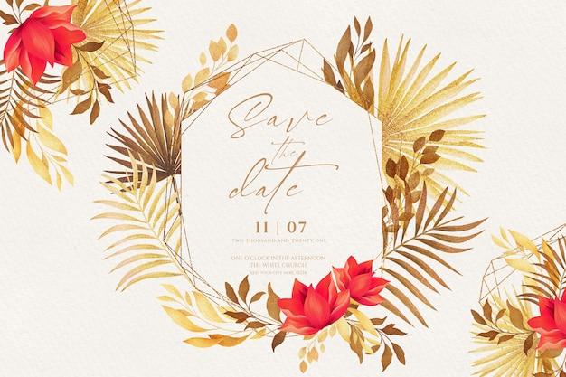 Invitación romántica guardar la fecha con naturaleza dorada y roja PSD gratuito