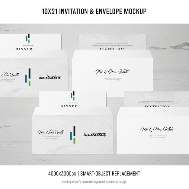 Invitación y sobre maqueta PSD gratuito