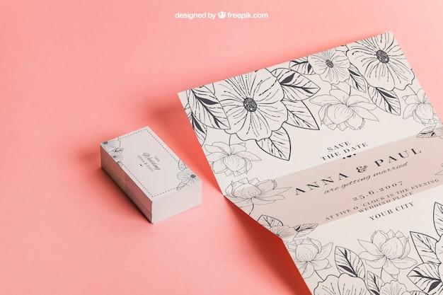 Invitación Y Tarjetas Florales Para Boda Archivo Psd Gratis