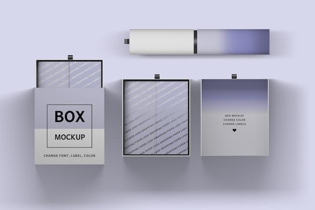 Inzameling van verpakkingsdozen en 3d illustratie van de verpakkingsbuis Premium Psd