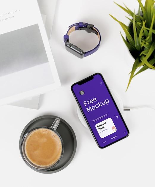 Iphone x op desk mockup Premium Psd