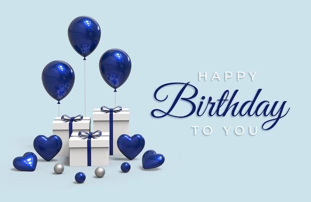 Iscrizione di buon compleanno con palloncini e scatola regalo Psd Premium