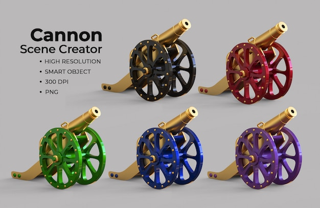 Islamitische cannon scene creator Premium Psd