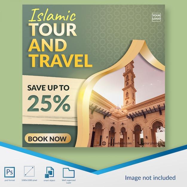 Islamitische hadj tour en reizen sociale media post sjabloon Premium Psd