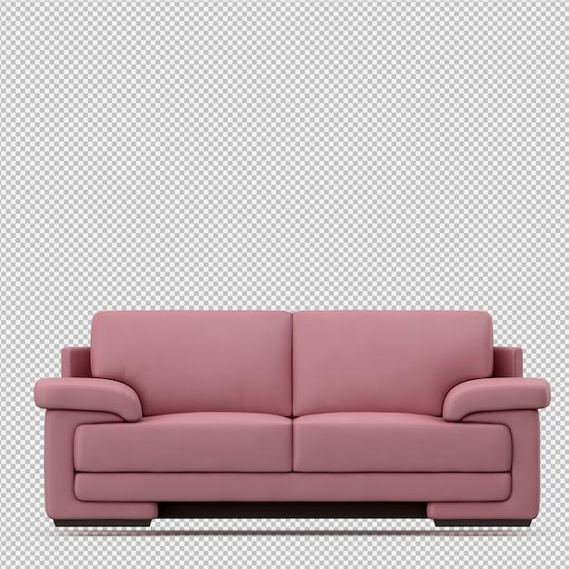 Isometrische 3d-sofa renderen Premium Psd