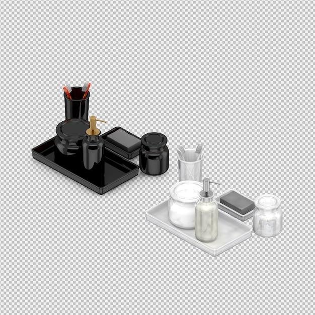 Isometrische badkamer accessoires 3d geïsoleerd render Premium Psd