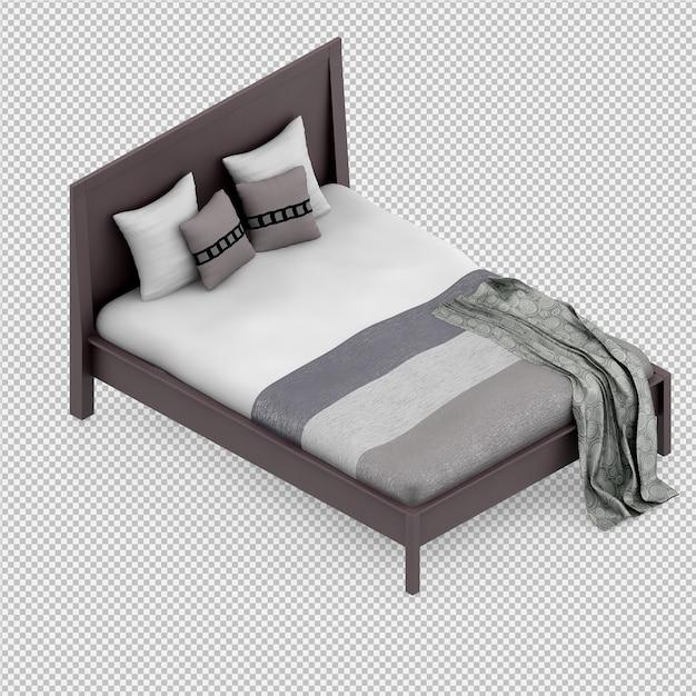Isometrische bed 3d render Premium Psd