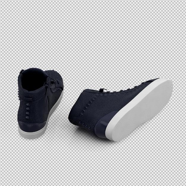 Isometrische geïsoleerde schoenen 3d geven terug Premium Psd
