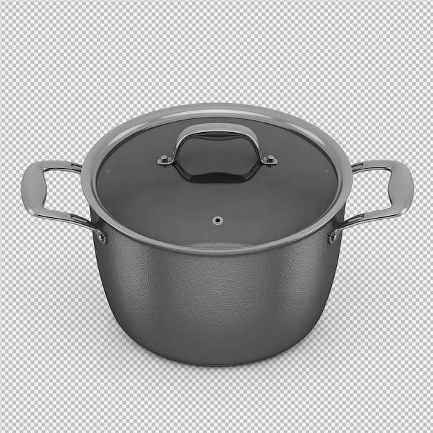 Isometrische geïsoleerde steelpan 3d geeft terug Premium Psd