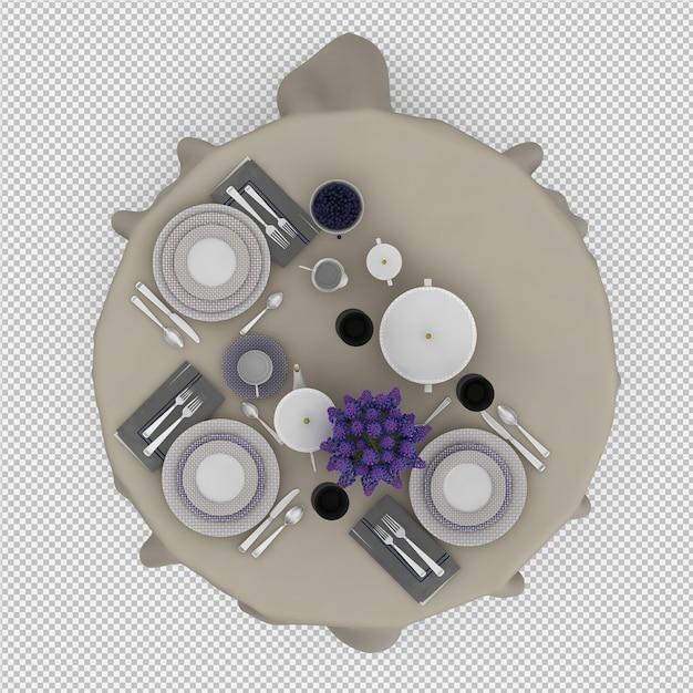 Isometrische keukenaccessoires 3d render Premium Psd