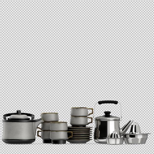 Isometrische keukengerei 3d render Premium Psd