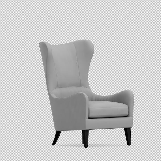 Isometrische leunstoel 3d-rendering Premium Psd
