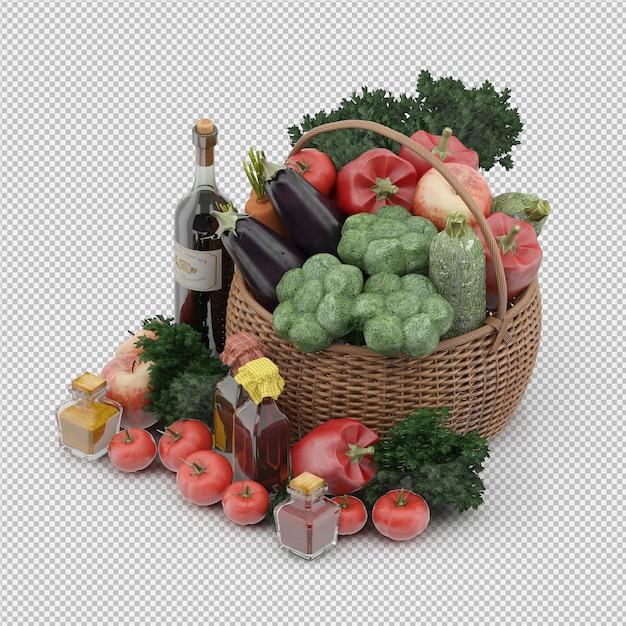 Isometrische mand met groenten en fruit in rieten mand Premium Psd