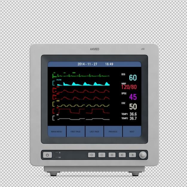 Isometrische medische 3d-apparatuur renderen Premium Psd