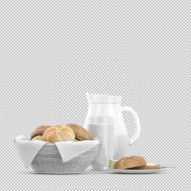 Isometrische ontbijt 3d geïsoleerd Premium Psd