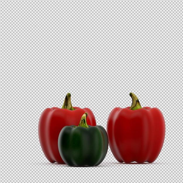 Isometrische paprika's 3d render Premium Psd