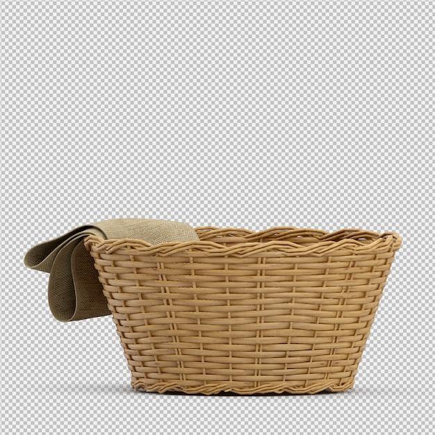 Isometrische picknickmand geïsoleerde 3d render Premium Psd