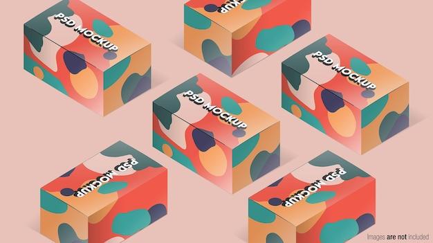 Isometrische verpakking mockup ontwerp Premium Psd