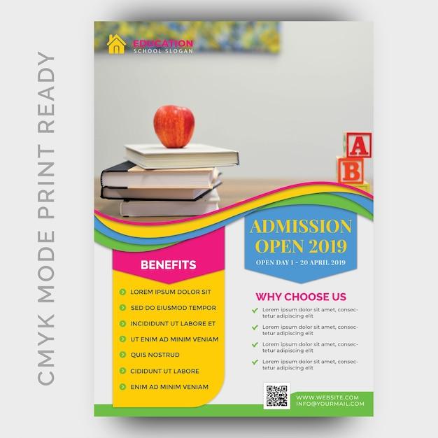 Istruzione, back to shool flyer design template Psd Premium